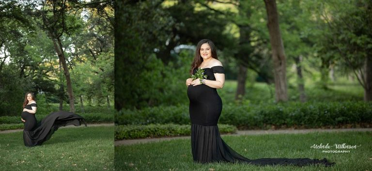 pregnant woman in a black dress with a train in a park during a maternity session