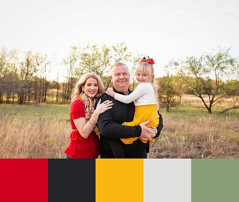 Fall family pictures with red and yellow